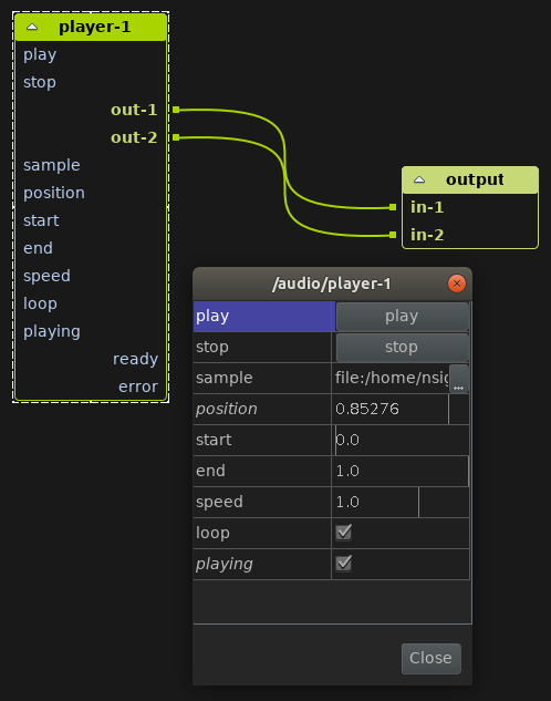 Audio player component in the PraxisLIVE IDE